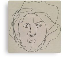 Blind Contour Ink Drawing.  Canvas Print