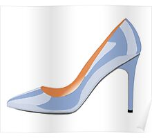 High Heeled Shoe in Serenity Blue Poster