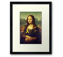 Mona Lisa With Yellow Ribbon Framed Print