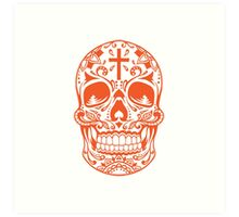 Sugar Skull Orange Art Print