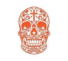 Sugar Skull Orange Photographic Print