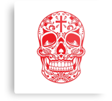 Sugar Skull Red Metal Print