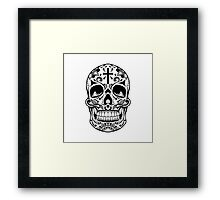 Sugar Skull Black Framed Print