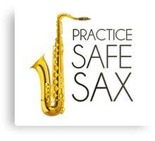 Practice Safe Sax Metal Print
