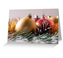 Spruce branches and Christmas balls. Greeting Card