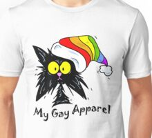 My Gay Apparel - Tuff Kitty Black Cat Rainbow Santa Hat Unisex T-Shirt