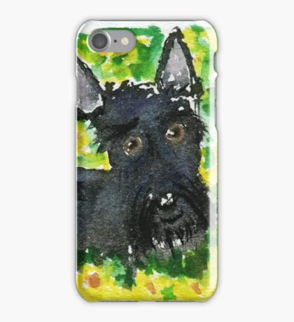 Scottie Dog 'Among The Sunflowers' watercolour iPhone Case/Skin