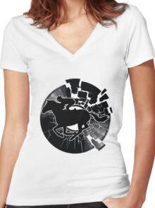 Vinyl Disc Jockey Women's Fitted V-Neck T-Shirt