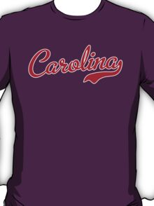 Carolina Script Garnet White Outline T-Shirt
