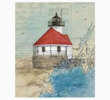 Cuckolds Lighthouse ME Nautical Chart Cathy Peek Kids Tee