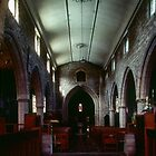 Nave looking to west Fladbury Church England 198405140015 by Fred Mitchell