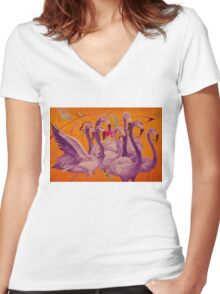 Purple Flamingo Women's Fitted V-Neck T-Shirt