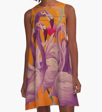 Purple Flamingo A-Line Dress