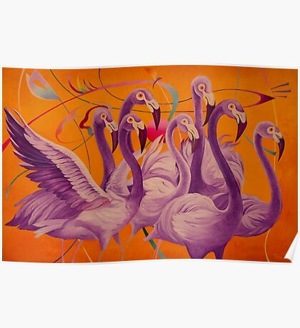 Purple Flamingo Poster