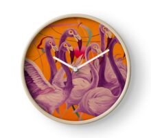Purple Flamingo Clock