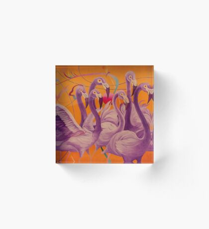 Purple Flamingo Acrylic Block