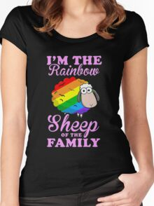 rainbow sheep family Women's Fitted Scoop T-Shirt