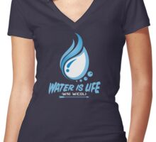 WATER IS LIFE - WNI WICOLI Women's Fitted V-Neck T-Shirt