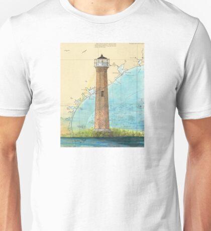 Aransas Pass Lighthouse TX Nautical Map Cathy Peek Unisex T-Shirt