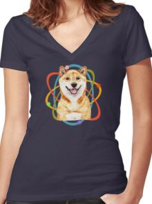 Fall in Love with a Shiba Inu Women's Fitted V-Neck T-Shirt
