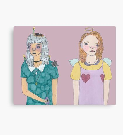 Witch Girl and Angel Girl Canvas Print
