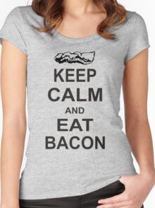Keep Calm and Eat Bacon T-Shirt Funny Parody Meat TEE Food Pig Hog Breakfast Women's Fitted Scoop T-Shirt