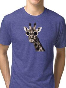 Giraffe With Steampunk Sunglasses Goggles Tri-blend T-Shirt