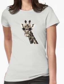 Giraffe With Steampunk Sunglasses Goggles Womens Fitted T-Shirt