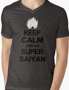 KEEP CALM AND GO SUPER SAIYAN T-Shirt Tee Dragon DBZ Ball Goku Z Vegeta Anime Mens V-Neck T-Shirt