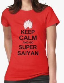 KEEP CALM AND GO SUPER SAIYAN T-Shirt Tee Dragon DBZ Ball Goku Z Vegeta Anime Womens Fitted T-Shirt