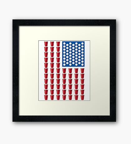 Beer Pong Drinking Game American Flag Framed Print
