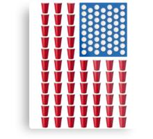 Beer Pong Drinking Game American Flag Metal Print