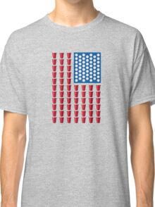 Beer Pong Drinking Game American Flag Classic T-Shirt
