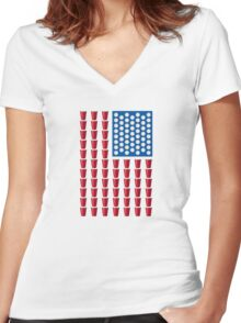 Beer Pong Drinking Game American Flag Women's Fitted V-Neck T-Shirt
