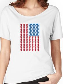 Beer Pong Drinking Game American Flag Women's Relaxed Fit T-Shirt