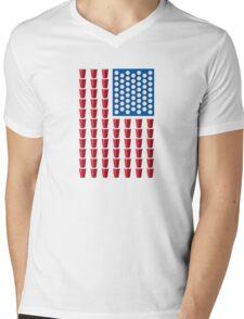 Beer Pong Drinking Game American Flag Mens V-Neck T-Shirt