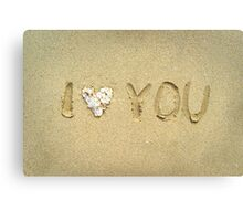 I love you written on wet sand on the beach Canvas Print