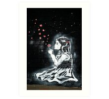 Girl blowing hearts by Banksy Art Print
