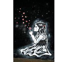 Girl blowing hearts by Banksy Photographic Print