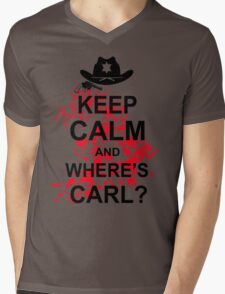 KEEP CALM AND WHERE'S CARL TSHIRT The Walking Zombie TEE APOCALYPES FUNNY Dead Mens V-Neck T-Shirt