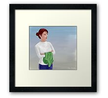 Beautiful Woman Waiting, with Crossed Hands Looking to the Horizon  Framed Print