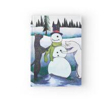 Cats Building a Snowman Hardcover Journal