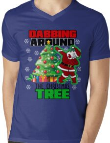 Cute DABBING AROUND THE CHRISTMAS TREE T-Shirt Santa Swag Mens V-Neck T-Shirt