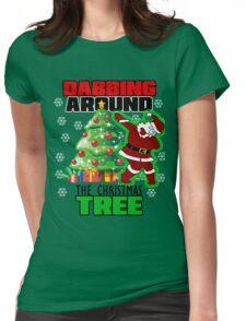 Cute DABBING AROUND THE CHRISTMAS TREE T-Shirt Santa Swag Womens Fitted T-Shirt