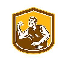 Arm Wrestling Champion Woodcut Shield by patrimonio