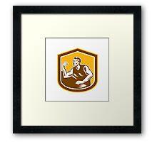 Arm Wrestling Champion Woodcut Shield Framed Print