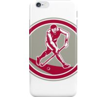 Field Hockey Player Running With Stick Retro iPhone Case/Skin