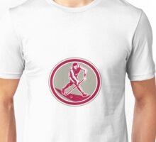 Field Hockey Player Running With Stick Retro Unisex T-Shirt