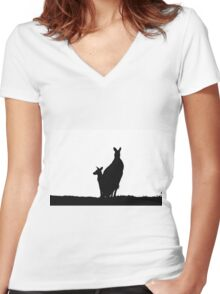 Kangaoo Silhouette Women's Fitted V-Neck T-Shirt