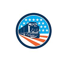Diesel Train American Stars Stripes Retro Photographic Print